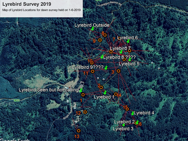 Lyrebird Location Map 2019